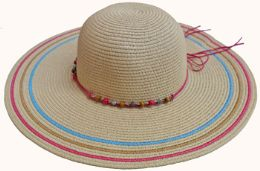 36 Units of Large Ladies Hat with Bead Tie - Sun Hats