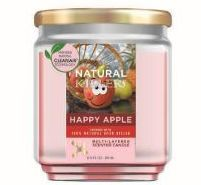 6 Units of Natural Killer 130z Candle With Clean Air Technology Odor Eliminator, Happy Apple - Candles & Accessories