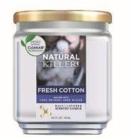 6 Units of Natural Killer 130z Candle With Clean Air Technology Odor Eliminator, Fresh Cotton - Candles & Accessories