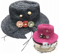 36 Units of Womens Straw Sun Hat, Beach Hat - Sun Hats