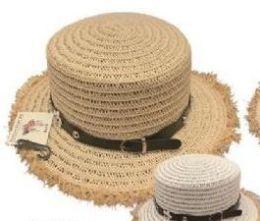 24 Units of Womens Straw Sun Hat, Beach Hat - Sun Hats