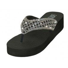 36 Units of Women's Rhinestone Upper Sandals ( Black/White Color ) - Women's Flip Flops