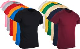 12 Units of Mens Cotton Crew Neck Short Sleeve T-Shirts Mix Colors , X-Large - Mens T-Shirts