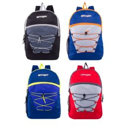 "24 Units of 17"" Classic Bungee Backpacks in 6 Assorted Colors - Backpacks 17"""