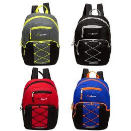 """24 Units of 17"""" Classic Bungee Backpack in 4 Assorted Colors with side Mesh Water Bottle Pockets - Backpacks 17"""""""