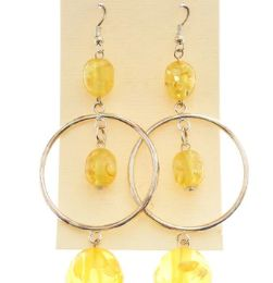 36 Units of Silver Tone And Yellow Acrylic Dangle Earrings With Bead Accents - Earrings