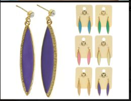 36 Units of Multi Color And Gold Tone Metal Dangle Earrings With Drop Accents - Earrings