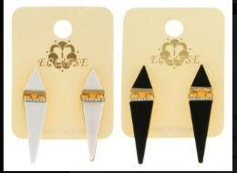 36 Units of White And Black Metal Dangle Earrings With Crystal Accents - Earrings