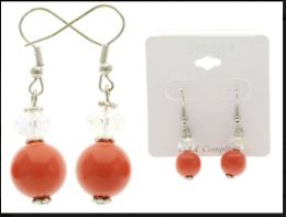 36 Units of Multi Color And Silver Tone Acrylic Dangle-Earrings With Faceted Accents - Earrings