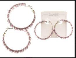 36 Units of Striped Hoop Earrings Multi-Color And Silver Tone - Earrings