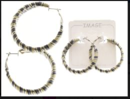 36 Units of Striped Hoop Earrings Multi Color And Silver Tone - Earrings