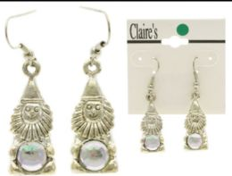 36 Units of Gnomes Dangle Earrings With Bead Accents Silver Tone And Multi Color - Earrings