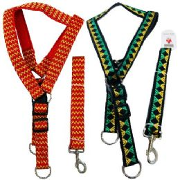 """24 Units of 48"""" Cushioned Leash & Harness Set-Extra Large [Pattern] - Pet Collars and Leashes"""