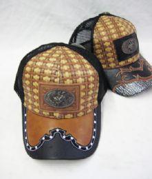 36 Units of Metallic Bull Rider Straw Baseball Cap - Baseball Caps & Snap Backs