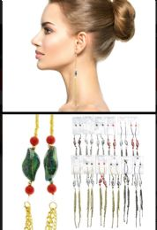 36 Units of Tri Tone And Multi Color Metal Dangle Earrings With Tassel Accents - Earrings