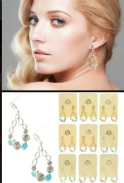 36 Units of Dual Tone And Multi Color Metal Dangle Earrings With Crystal Accents - Earrings