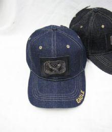 36 Units of Eagle Medallion Denim Baseball Cap - Baseball Caps & Snap Backs