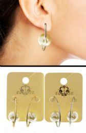 36 Units of Dual Tone And White Metal Dangle Earrings With Bead Accents - Earrings