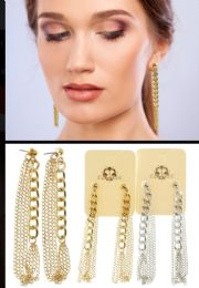 36 Units of Chain Hoop Earrings Dual Tone - Earrings