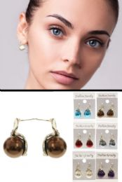 36 Units of Multi Color And Silver Tone Metal Stud Earrings With Crystal Accents - Earrings