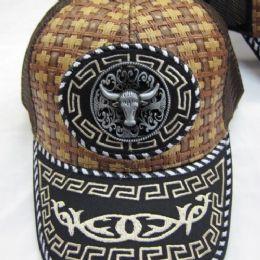 48 Units of Silver Bull Straw Baseball Cap - Baseball Caps & Snap Backs