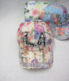 "24 Units of ""los Angeles"" Denim Floral Rhinestone Caps - Baseball Caps & Snap Backs"