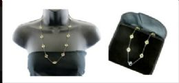 12 Units of Gun metal colored necklace gold tone charms with pouch - Necklace