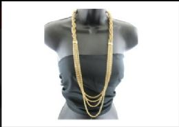 12 Units of Half braided gold tone chain - Necklace
