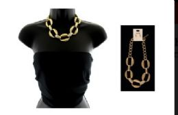 12 Units of High fashion gold tone chain link necklace and earring set - Necklace
