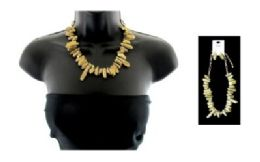 12 Units of High fashion gold tone crystal shard necklace and earring set - Necklace