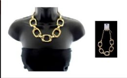 12 Units of High fashion gold tone necklace and earring set - Necklace
