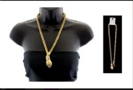 12 Units of High fashion gold tone snake necklace and stud earring set - Necklace
