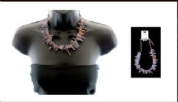 12 Units of High fashion iridescent crystal shard necklace and earring set - Necklace