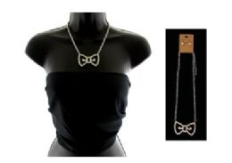 12 Units of High fashion silver tone bow necklace and stud earring set - Necklace
