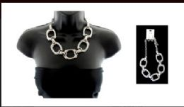 12 Units of High fashion silver tone necklace and earring set - Necklace