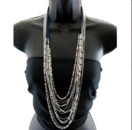 12 Units of Long high fashion multi layered ball chain necklace with a few strands of string with beads - Necklace