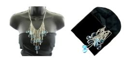 12 Units of Silver blue jewel necklace with pouch - Necklace