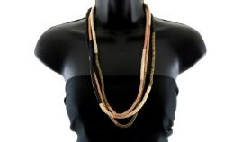 12 Units of Three layered medium length necklace made of hundreds of small disc shaped beads - Necklace
