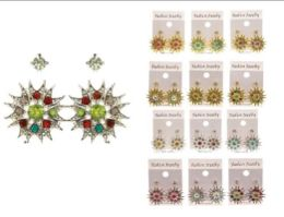 36 Units of AB Finish Multiple Earring Set With Crystal Accents Dual Tone And Multi Color - Earrings