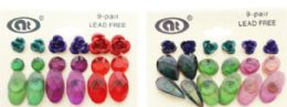 36 Units of Assorted Shapes Flower Multiple Earring-Set - Earrings