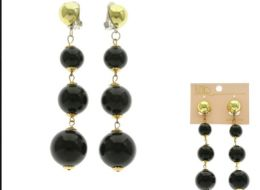 36 Units of Black And Gold Tone Acrylic Clip on Earrings With Bead Accents - Earrings