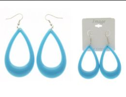 36 Units of Blue And Silver Tone Acrylic Dangle Earrings - Earrings