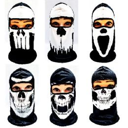 24 Units of Black & White Skulls Ninja Face Mask - Unisex Ski Masks