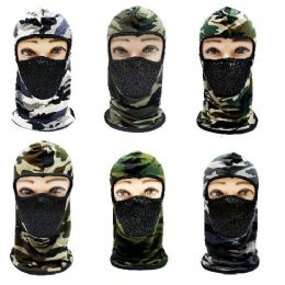 24 Units of Ninja Face Mask [Camo with Mesh Front] - Unisex Ski Masks