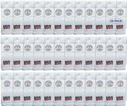 36 Units of Yacht & Smith Kids Cotton Usa Tube Socks, Referee Style Size 6-8 - Boys Crew Sock