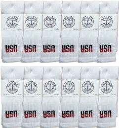 12 Units of Yacht & Smith Kids Cotton Usa Tube Socks, Referee Style Size 6-8 - Boys Crew Sock