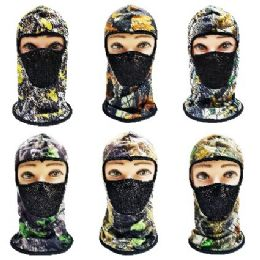 24 Units of Ninja Face Mask [Hardwood Camo with Mesh Front] - Unisex Ski Masks