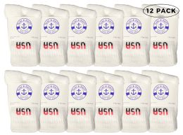 12 Units of Yacht & Smith Kids Cotton Crew Socks White Usa Size 6-8 - Boys Crew Sock