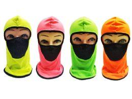 24 Units of Neon With Mesh Front Ninja Face Mask - Unisex Ski Masks