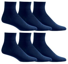 6 Units of Yacht & Smith Women's Diabetic Cotton Ankle Socks Soft Non-Binding Comfort Socks Size 9-11 Navy - Women's Diabetic Socks